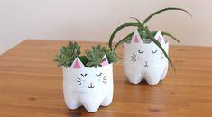 Pet Şişeden Kedi Saksı Nasıl Yapılır, Kedi Saksı Yapmak, Kedi Görünümlü Saksı Yapma, Kendin yap Projesi, Geri Dönüşüm Projesi ile DIY çalışmalar ve örnekler