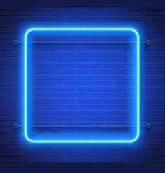 Neon lamp casino rectangel frame on brick wall vector image on VectorStock Neon Backgrounds, Poster Background Design, Tech Background, Light Background Images, Background Images Wallpapers, Blue Wallpapers, Lights Background, Textured Background, Neon Blue Background
