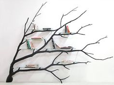 Fallen Tree Branch Turned Into an Amazing Shelf  Its from a found tree branch in Santiago streets that designer Sebastian Errazuriz imagined the shelf Bilbao. After readapted it rearranged it and painted it he was able to exploit this branch and add glass storage shelves in order to make an elegant and singular bookshelf out of it. A project that proves that inspiration can come from the simplest things.      #xemtvhay