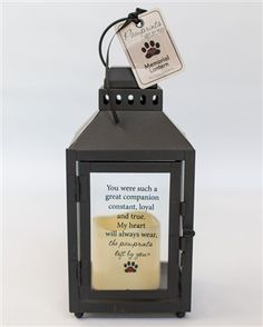 Pawprints Left by You, pet memorial lantern. Let your pet's light continue to shine with this special sympathy gift...
