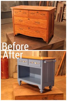 A Traditional Piece of Furniture Becomes a Cottage Kitchen Island. Lots of great before and after pictures here! Sources at the bottom of each picture.