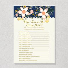 Who Knows The Bride Best, How Well Do You Know The Bride, Navy & Floral Chic Printable Bridal Shower Game - SKUHDG10 by hellodreamstudio on Etsy