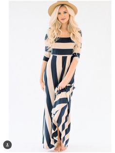 **** Let Stitch Fix style you today!  Obsessed with this adorable beige and black striped maxi dress.  Super cute with the large brimmed straw hat!  Perfect for Spring Summer!  Stitch Fix Spring, Stitch Fix Summer, Stitch Fix Fall 2016 2017. Stitch Fix Spring Summer Fall Fashion. #StitchFix #Affiliate #StitchFixInfluencer