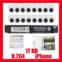 "Complete Professional 16 Channel H.264 DVR (1T Hard Drive) with 16 x 520TVL 1/3"" Sony CCD Wide Angle Aluminum Dome Security Camera CCTV Surveillance Video System Package by Gw. $1280.00. Package includes: GW9016V - 16 channel network DVR with 1T HDD CD with manual and software;  16 x GW726W -1/3"" Sony CCD Camera;  1 x GW1000RG59: 1000 Feet RG59 Siamese Power/Video Combo Cable;  GW1218-10A: 1 x 18 ports power box;  16 x Power pigtail (GW082);  32 x GW10009: Twist On BNC Ma..."