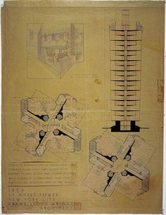 """Frank Lloyd Wright (American, 1867-1959) St. Mark's-in-the-Bouwerie Tower, New York Project 1927-31 Section and perspective cutaway of a duplex apartment with balcony and living-room floor plans, 1929 Ink, pencil, and colored pencil on linen window shade 47 x 35"""" (119.4 x 88.9 cm) The Frank Lloyd Wright Foundation Archives (The Museum of Modern Art 