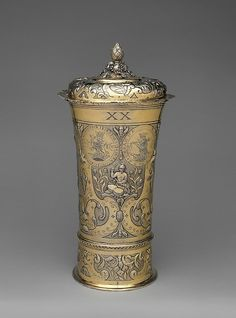 "Johannes (Hans) Mautner (master 1670, died 1694). Footed beaker with cover, 1682. Hungarian, Brassó. The Metropolitan Museum of Art, New York. Gift of The Salgo Trust for Education, New York, in memory of Nicolas M. Salgo, 2010 (2010.110.38a, b) | This work is featured in our ""Hungarian Treasure: Silver from the Nicolas M. Salgo Collection"" exhibition on view through October 25, 2015 #HungarianTreasure"