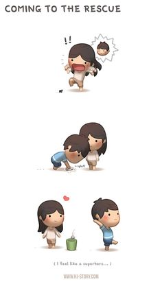 HJ Story - Yep, it's part of my duty for emergency situation. Hj Story, Cute Couple Comics, Cute Couple Cartoon, Cute Comics, Chibi Couple, Love Is Cartoon, Cute Love Cartoons, Cute Love Stories, Love Story