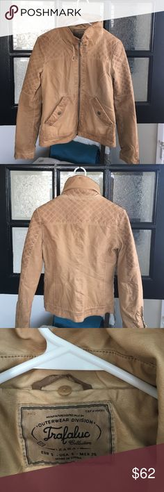 Tan leather jacket Awesome tan/light brown leather bomber jacket. Super cute with jeans and boots and can be worn over a dress for a sassier look :) great condition. Worn only a handful of times. Zara Jackets & Coats Utility Jackets