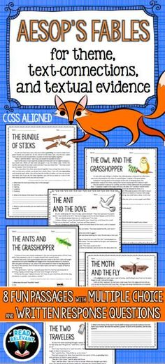 Use Aesop's Fables to teach theme, text-connections, and textual evidence. Perfect for fourth grade, fifth grade, sixth grade, or seventh grade. Printable and no prep!