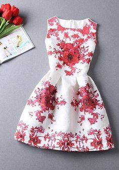 White Floral Pleated Round Neck Sleeveless Vintage Mini Dress - Mini Dresses…
