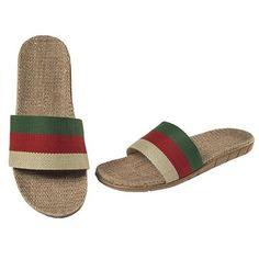 Skidproof Stripes Linen Slippers For Men