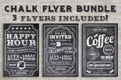 Chalk Flyer Bundle Pack   Typography   Design   Poster   Marketing