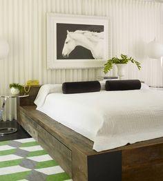 Ideas de muebles de dormitorio de plataforma de madera colgantes laterales marco de la cama