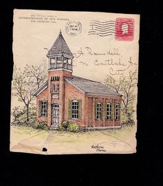 Schoolhouse Drawing on Antique Envelope. Framing by PostMarkArt, $100.00