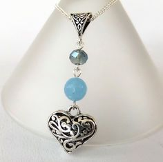 Heart charm necklace, with blue quartz and crystal by Beadstorm Jewellery