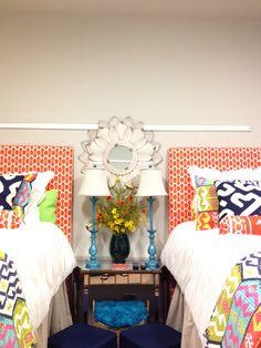 Dorm room bedding and decor. Molding on cork strip. Oak hall. MSU