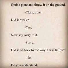 Drop a plate on the floor...did it break? _yes. Now say sorry to it... -sorry -did it go back to the way it as? -no ... Now do you understand?