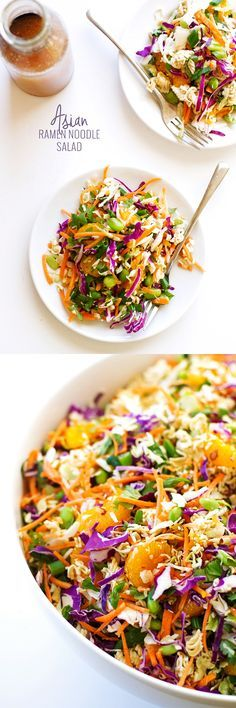Asian Ramen Noodle Salad - loaded with a fresh vegetables and my sweet sesame vinaigrette!