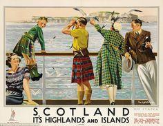 Vintage British travel poster - Scotland, Highlands and Islands Tartan & Tweed Vintage Advertising Posters, Vintage Travel Posters, Vintage Advertisements, Poster Vintage, Vintage Prints, British Travel, British Seaside, British Isles, Posters Uk