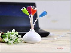 PC Notebook Laptop Mac Flower High Speed USB 2.0 4 Port Hub Splitter Adapter