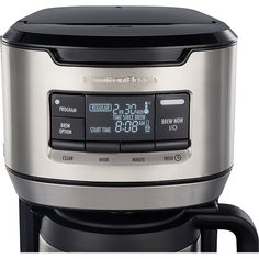 Choose between three brew options with this Hamilton Beach programmable front-fill coffee maker. The vacuum-sealed thermal carafe ensures your coffee stays hot and fresh, while the front-fill design offers an easy refill, eliminating spills and messes. This Hamilton Beach programmable front-fill coffee maker triggers an auto-shutoff feature when brewing is complete for added convenience. Thermal Coffee Maker, Hamilton Beach, Coffee Type, Perfect Cup, Coffee Machine, Carafe, Brewing, Cool Things To Buy, Water