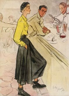 Illustration by Eric, 1948, Balenciaga.
