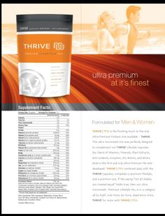 Thrive Shake Mix with ingredients www.athrivinglife.le-vel.com Add THRIVE by Le-Vel to your daily routine to jump start your day! It's an all natural vitamin to help your body perform at it's peak capability! Find out more goto www.athrivinglife.Le-Vel.com sign up as a FREE customer, then contact me for a sample! www.vallen2026.Le-Vel.com