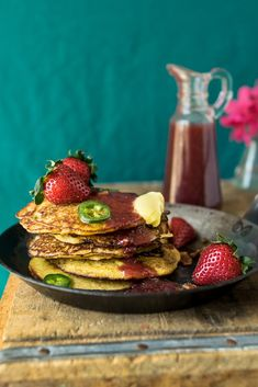 Bacon-and-jalapeno-hoe-cakes-with-strawberry-maple-syrup