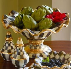 MacKenzie-Childs Courtly Check Compote