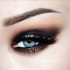 Black, gold and bronze eyes #eyes #eye #makeup #metallic #smoky #bold #dramatic