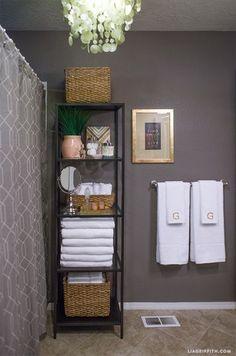 On a budget apartment bathroom renovation before and after 190 bathroom organization, ikea bathroom storage Small Bathroom Organization, Bathroom Shelves, Bathroom Ideas, Bathroom Mirrors, Downstairs Bathroom, Bathroom Canvas, Bathroom Cabinets, Bathroom Faucets, Shower Organizing