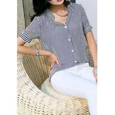 #Valentines #AdoreWe #DressLily - #Dresslily Striped Single Breasted Shirt - AdoreWe.com