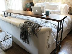 For home, but I still wanted to post. :) Dreamy bed (Restoration Hardware) and rolling bed desk (Yellow Door Supply Co) Home Bedroom, Master Bedroom, Bedroom Decor, Bedrooms, Bedroom Ideas, My New Room, My Room, Rolling Bed, Rolling Table