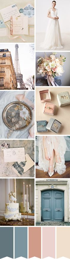 This romantic Parisian wedding inspiration features a dreamy dress and the prettiest of details that's sure to ignite your wanderlust. Parisian Wedding, French Wedding, London Wedding, Country Wedding Colors, Wedding Color Pallet, Wedding Colours, Romantic Wedding Receptions, Romantic Weddings, Wedding Venues