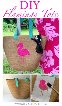 (vu) DIY painted flamingo straw tote - perfect beach bag for this summer! Found the straw tote in the Dollar Spot and used paint in party streamers. Beach Basket, Diy Straw, Party Streamers, Diy Clutch, Straw Tote, Jute Bags, Basket Bag, Summer Bags, Handmade Bags