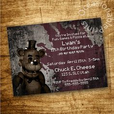 PRINTABLE Five Nights at Freddy's Invitation PERSONALIZED Birthday Party Favor