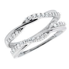 10k White Gold 1/3 ct Solitaire Enhancer Diamonds Ring Guard Wrap Wedding Band
