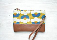 Wristlet Clutch Purse Vegan Faux leather Retro by HelloVioleta, $28.00