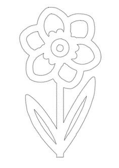 Daffodil tracing page for practising pencil control Spring Coloring Pages, Coloring Book Pages, Preschool Crafts, Easter Crafts, Beading Patterns, Embroidery Patterns, Dragonfly Art, Spring Crafts For Kids, Spring Activities