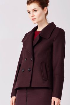 c7263af8bb891 Drykorn Winter Pea Coat-Style Jacket in Dark Rose €299 Hoe Te Dragen