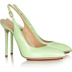 Charlotte Olympia Monroe patent-leather pumps ($370) ❤ liked on Polyvore featuring shoes, pumps, heels, charlotte olympia, scarpe, mint green pumps, pointy-toe pumps, patent leather pumps, slingback pumps and high heel shoes