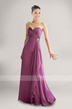 Romantic Strapless Sweetheart Floor-length Bridesmaid Dress with Brooch