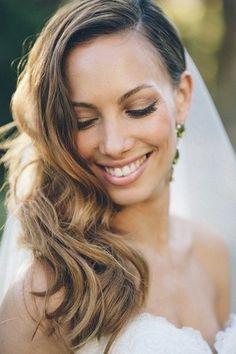 Peach and Turquoise Wedding {Real Bride} | Confetti Daydreams - Pretty side-swept bridal hair look ♥ #Peach #Turquoise #Wedding #DIY ♥  ♥  ♥ LIKE US ON FB: www.facebook.com/confettidaydreams  ♥  ♥  ♥