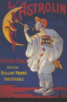 Vintage L'astrolin Paint Moon French Advertising Poster