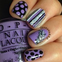Black and Purple Feather Nails.