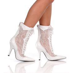 """3"""" High Heel White Lace Up Back Zip Victorian Mid Calf Women's Boots SIZE 7 #TheHighestHeel #FashionMidCalf"""
