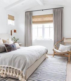 Beautiful modern master bedroom with a beach house feeling - master bedroom ideas - bedroom decor - white bedroom - small bedrooms Design Room, Modern Bedroom Design, Interior Design, Interior Ideas, Bedroom Designs, Modern Interior, Cozy Bedroom, Bedroom Decor, Bedroom Ideas