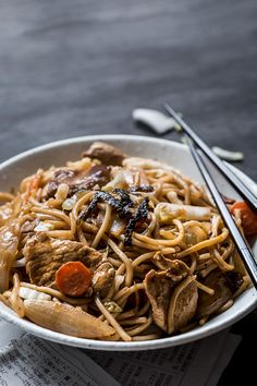 Yakisoba Noodles Recipe - A popular Japanese food street snack that's simple to make at home. Featuring pork and oodles of noodles. | wandercooks.com