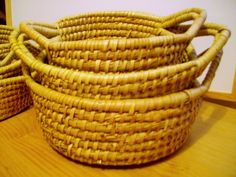 Set 3 three Baskets Wicker round shop Display Gift Hamper Storage Kitchen bread