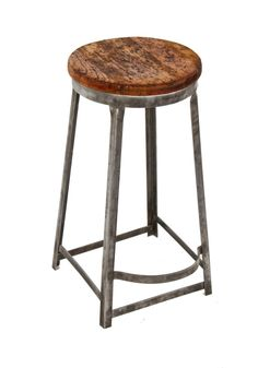 american 1930's antique industrial riveted joint angled steel four-legged factory machinist stool with original pine wood seat
